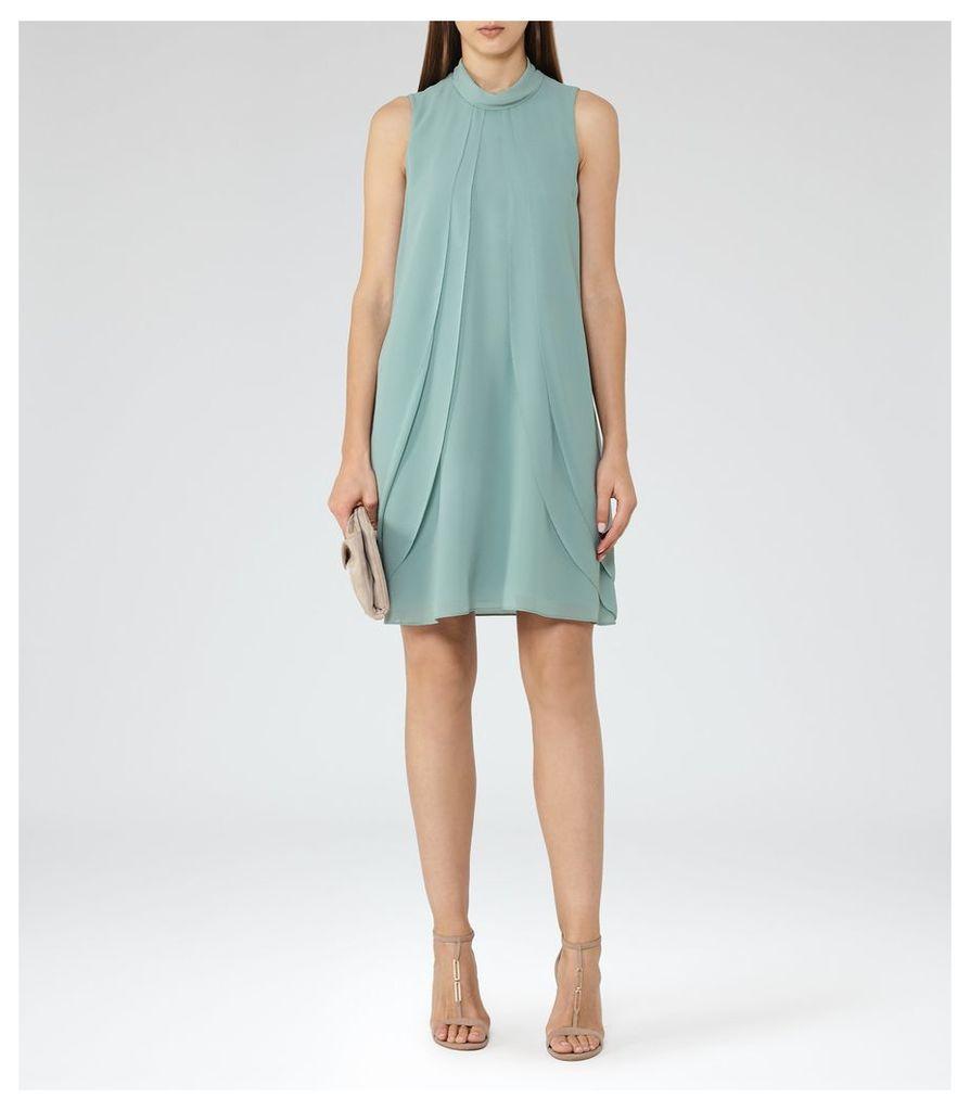 REISS Cohen - Ruffle-front Dress in Green, Womens, Size 4