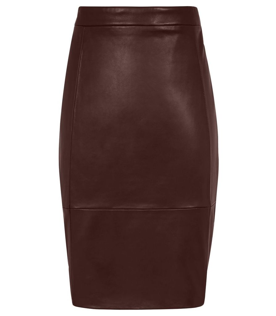 REISS Olivia - Stretch Panel Leather Skirt in Red, Womens, Size 4