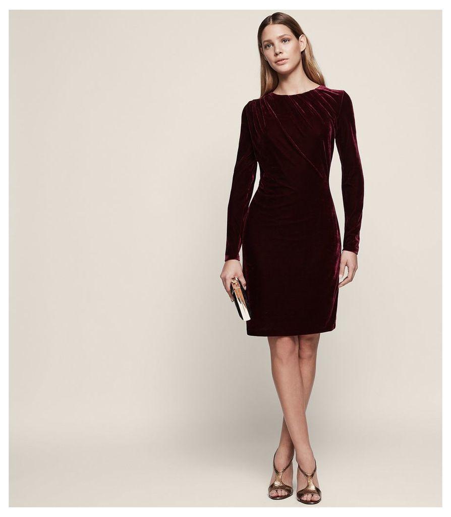 REISS Matty - Velvet Drape-detail Dress in Red, Womens, Size 4