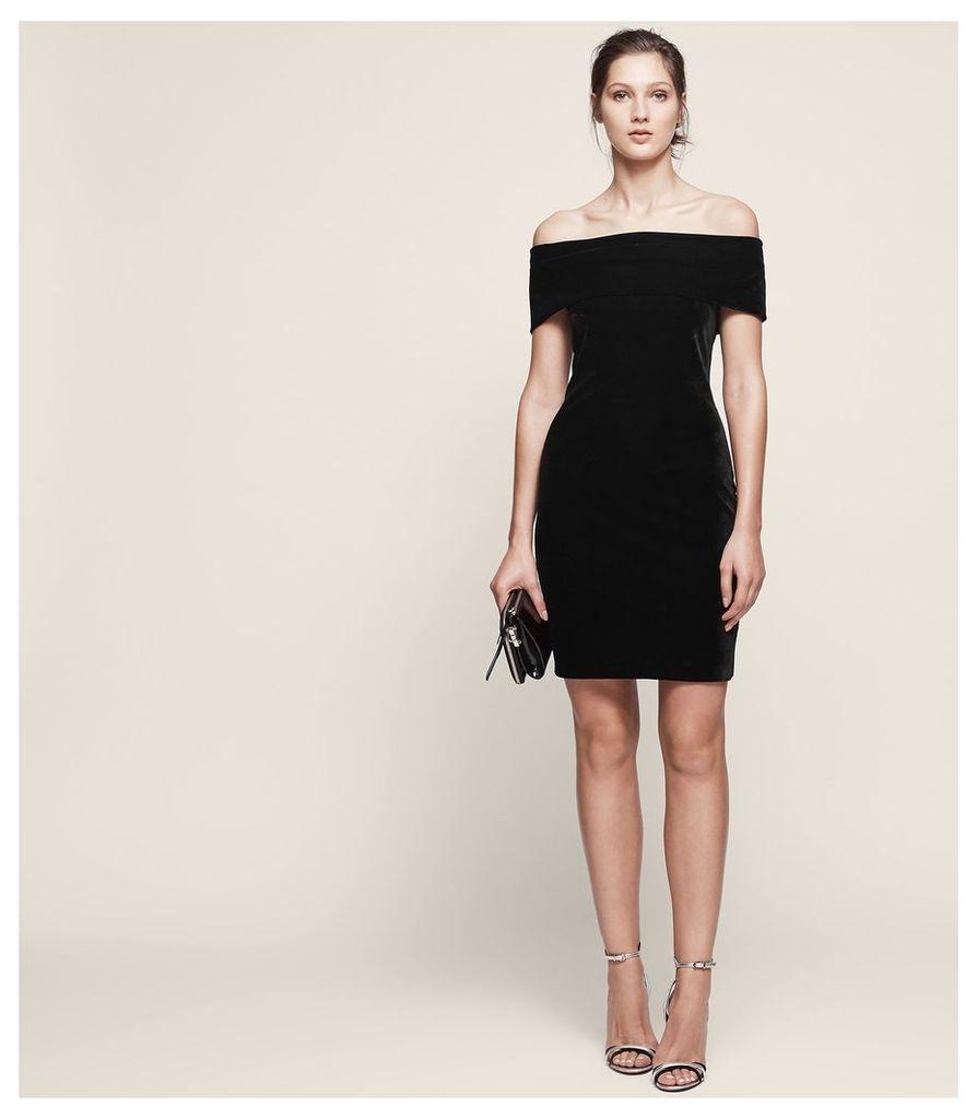 REISS Verity - Velvet Off-shoulder Dress in Black, Womens, Size 4