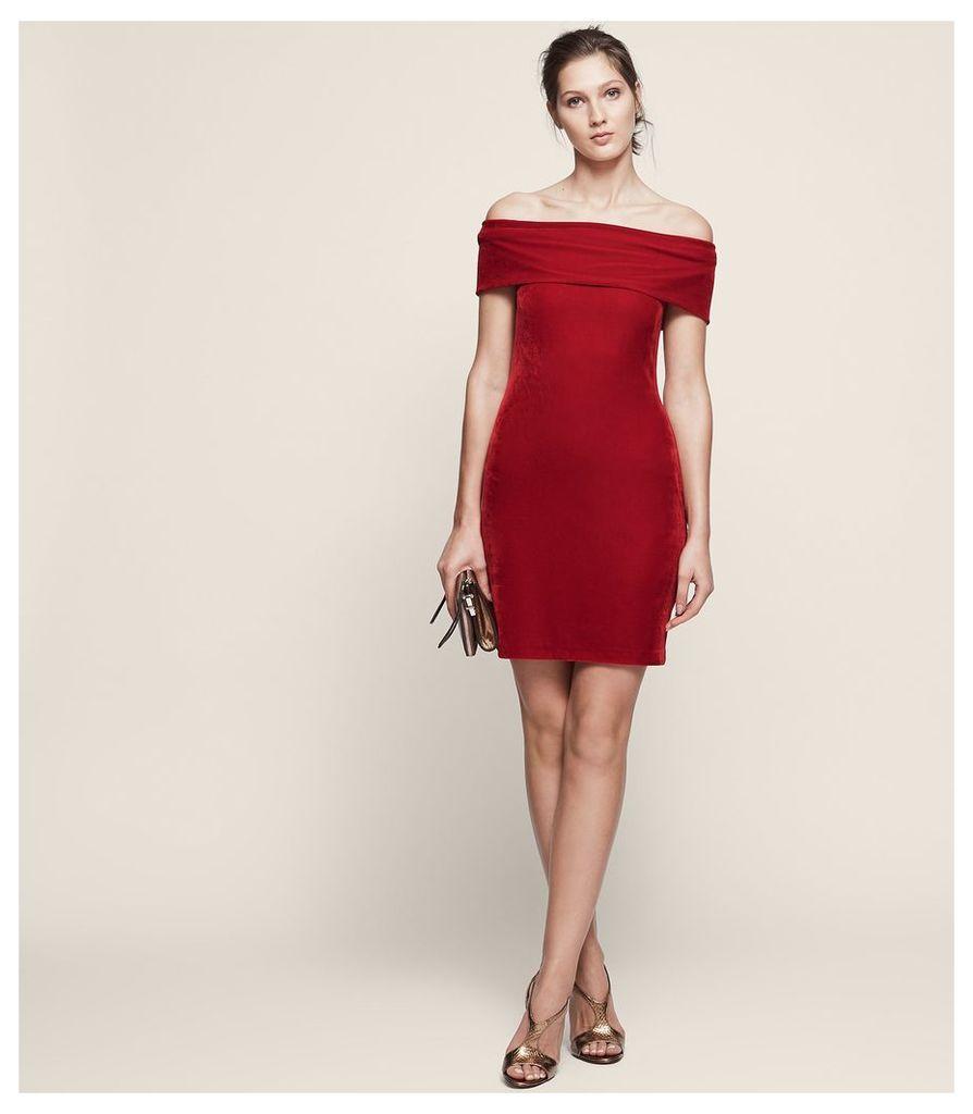 REISS Verity - Velvet Off-shoulder Dress in Red, Womens, Size 4