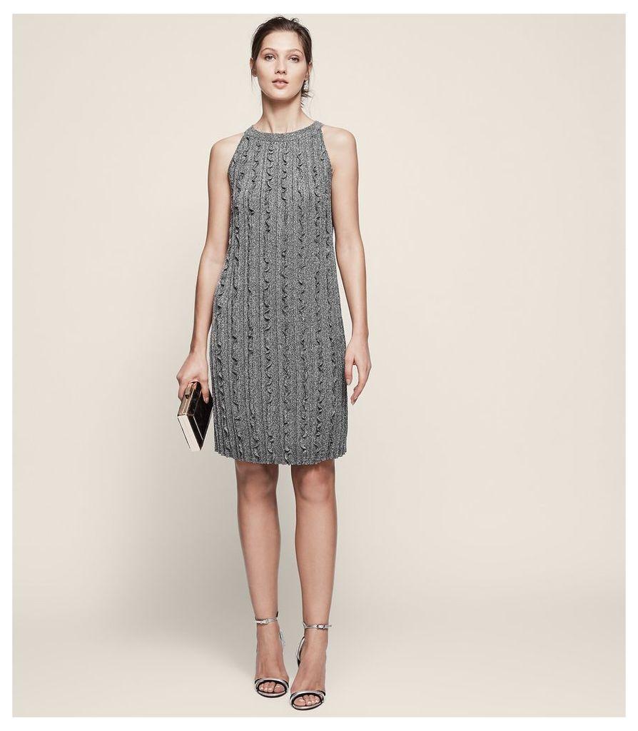 REISS Ethol - Metallic Ruffle Dress in Grey, Womens, Size 4