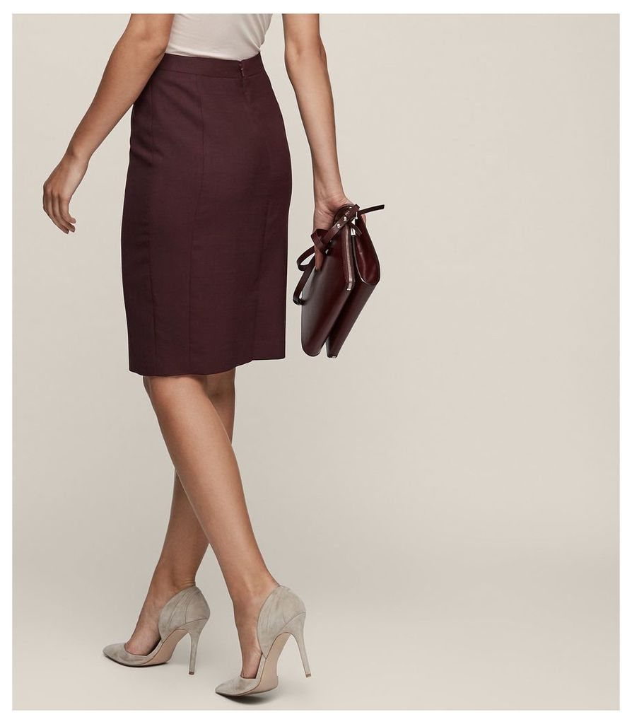 REISS Atlee Skirt - Tailored Pencil Skirt in Red, Womens, Size 4