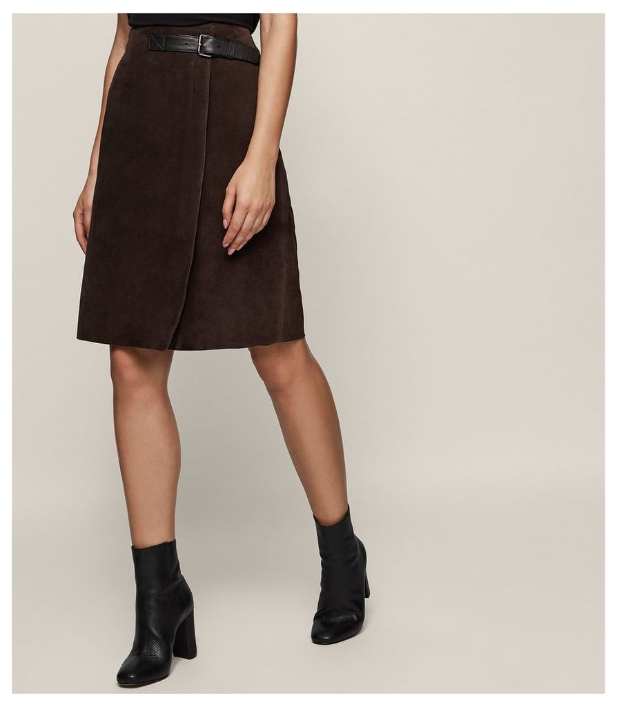 REISS Riley - Suede A-line Skirt in Brown, Womens, Size 4