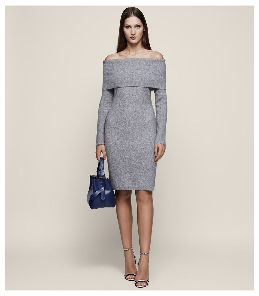 REISS Eliana - Off-the-shoulder Knitted Dress in Grey, Womens, Size 4