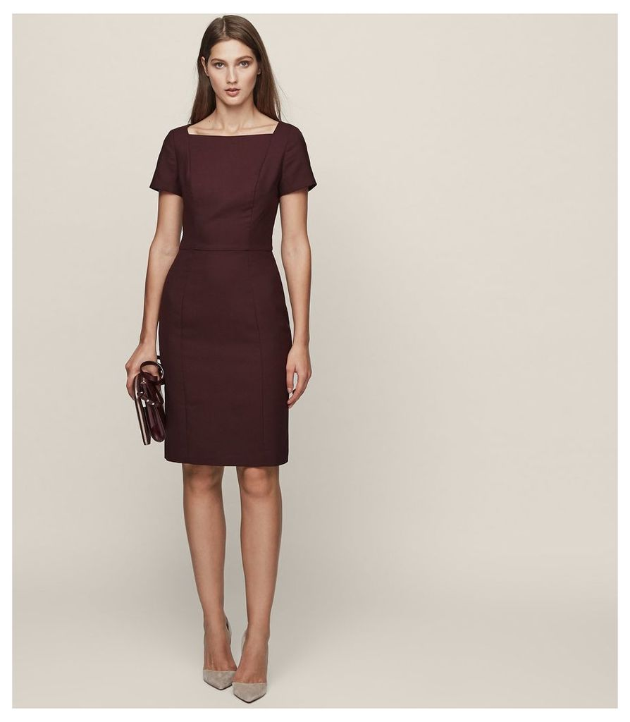 REISS Atlee Dress - Short-sleeved Tailored Dress in Red, Womens, Size 4