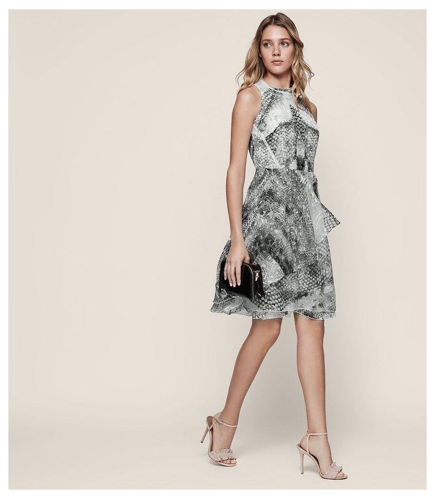 REISS Sibilla - Burnout-detail Dress in White, Womens, Size 4