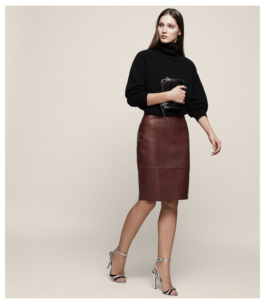 REISS Tris - Bonded Leather Pencil Skirt in Red, Womens, Size 4