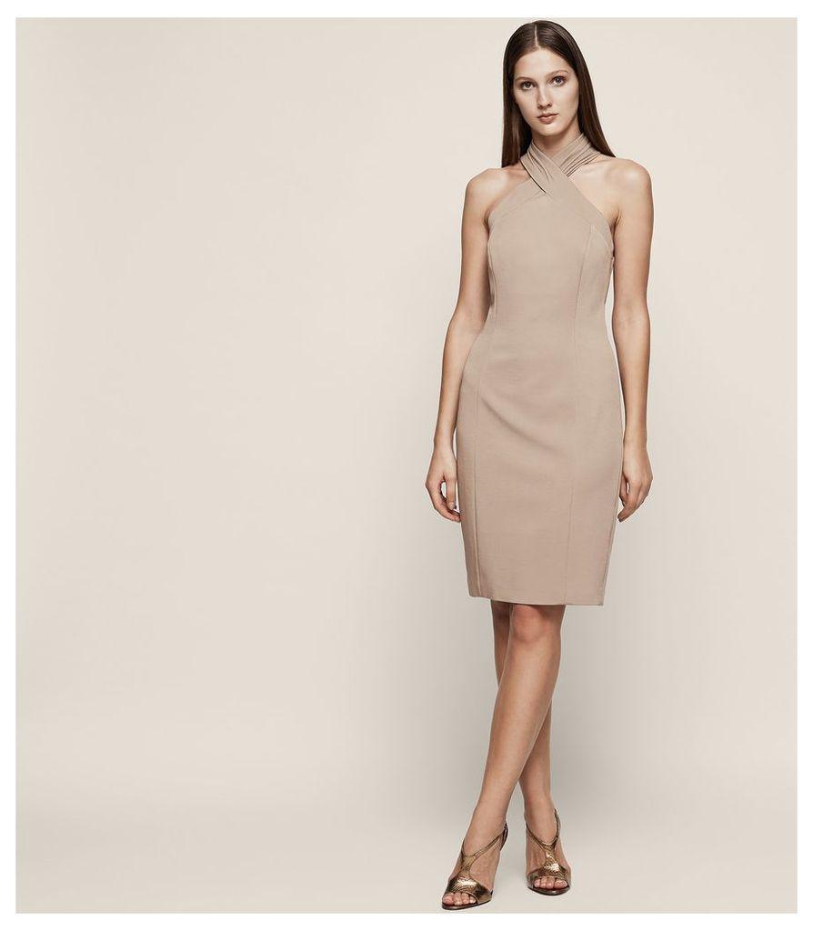 REISS Zaira - Wrap Neck Cocktail Dress in Brown, Womens, Size 4