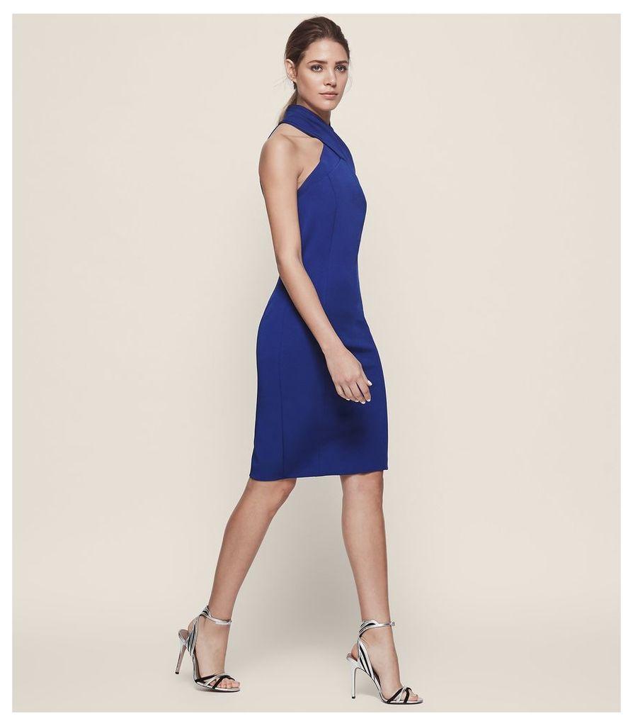 REISS Zaira - Wrap Neck Cocktail Dress in Blue, Womens, Size 4