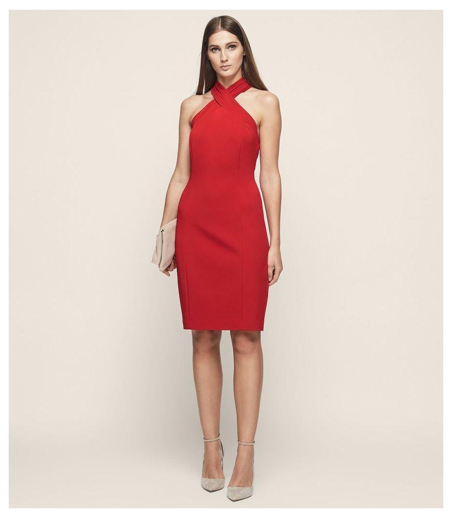 REISS Zaira - Wrap Neck Cocktail Dress in Red, Womens, Size 4
