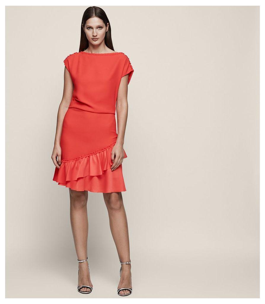 REISS Cecilia - Frill-detail Asymmetric Hem Dress in Red, Womens, Size 4