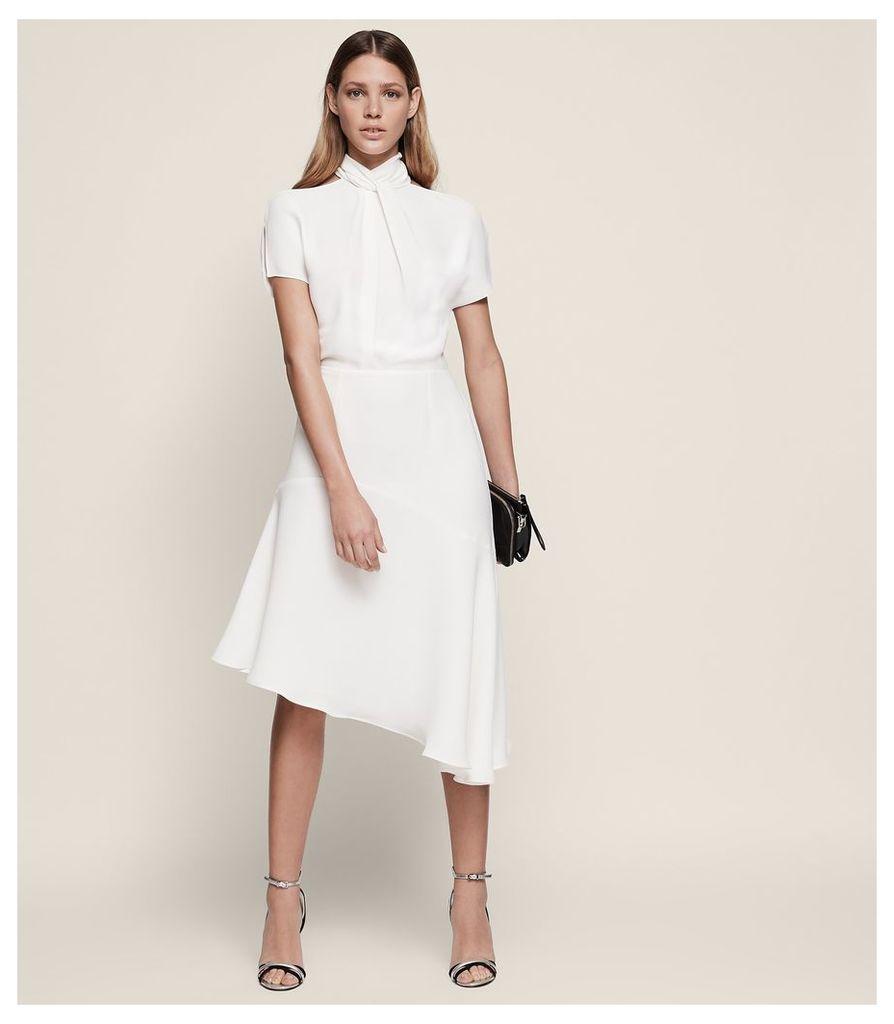 REISS Zinc - Halterneck Midi Dress in White, Womens, Size 4