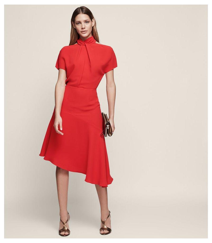 REISS Zinc - Halter-neck Cocktail Dress in Red, Womens, Size 4