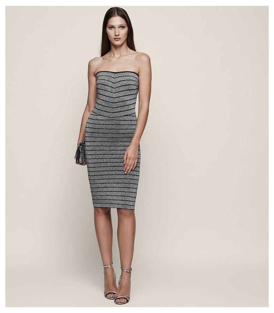 REISS Kym - Silver Bandage Dress in Grey, Womens, Size 4