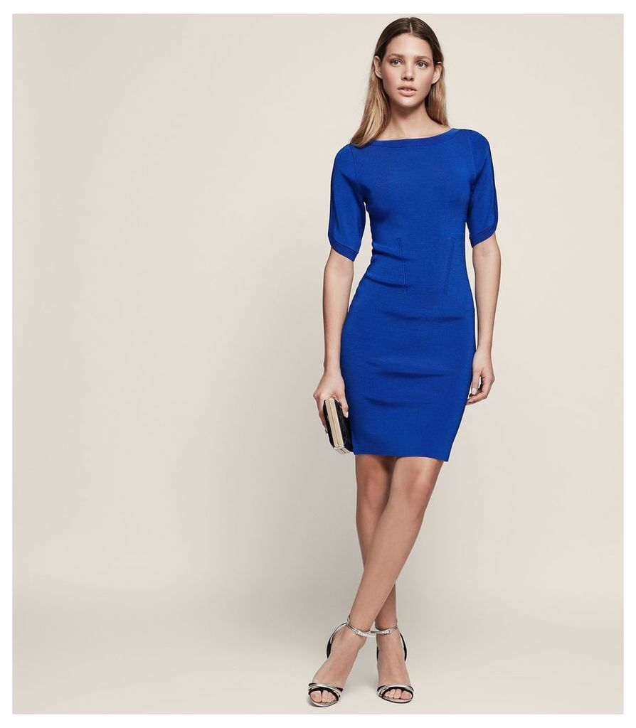 REISS Lidia - Knitted Short Sleeve Dress in Blue, Womens, Size 4