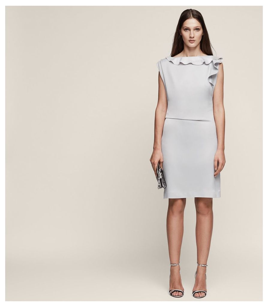 REISS Tyra - Ruffle-detail Dress in Grey, Womens, Size 4