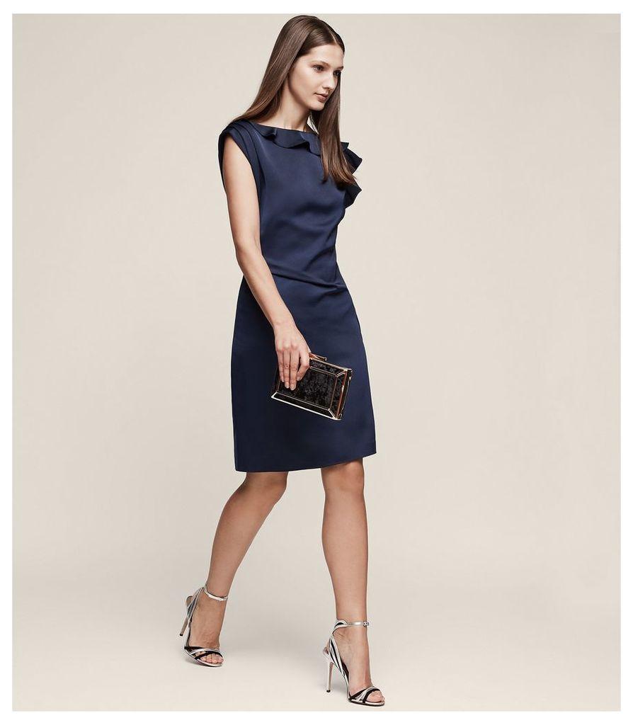REISS Tyra - Ruffle-detail Dress in Blue, Womens, Size 4