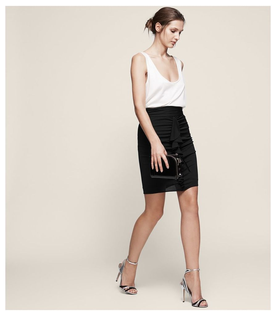 REISS Chaser - Ruched-front Frill Skirt in Black, Womens, Size 4