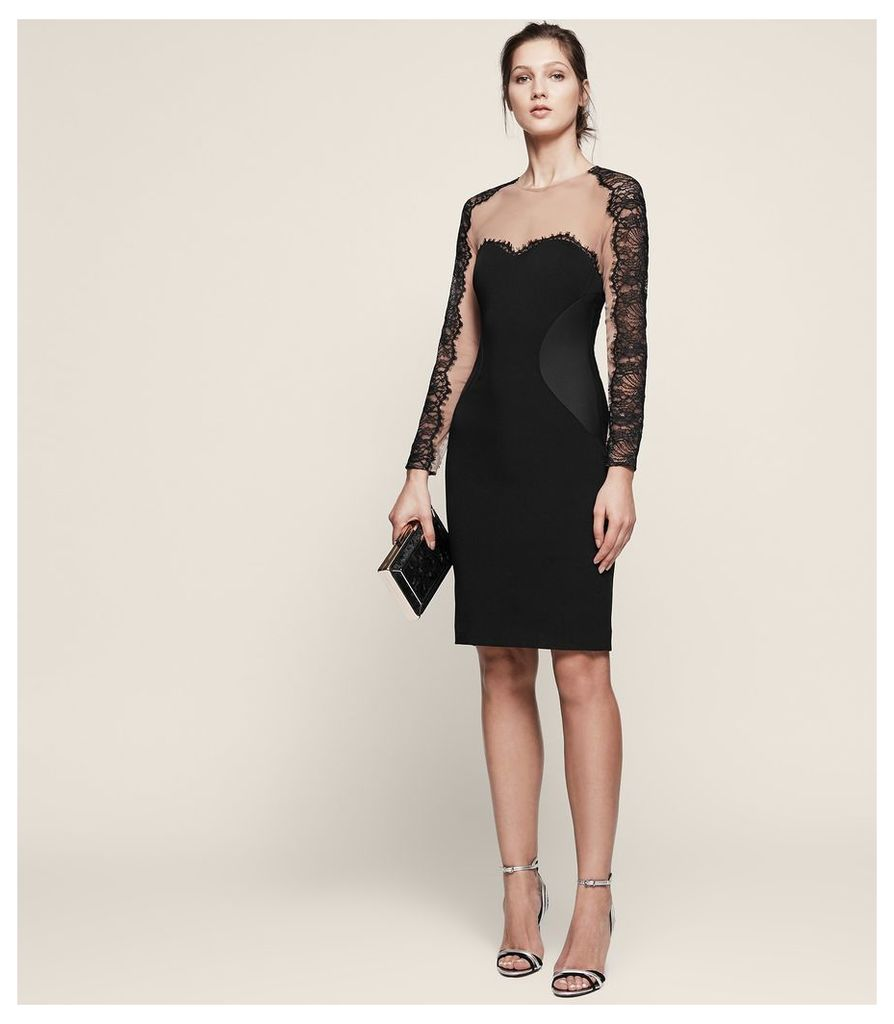 REISS Joelie - Lace Panel Bodycon Dress in Black, Womens, Size 4