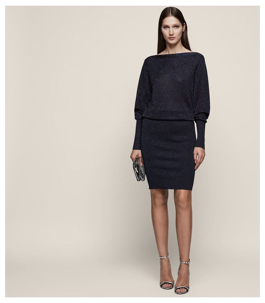 REISS Rosalind - Knitted Metallic Fitted Dress in Black, Womens, Size 4