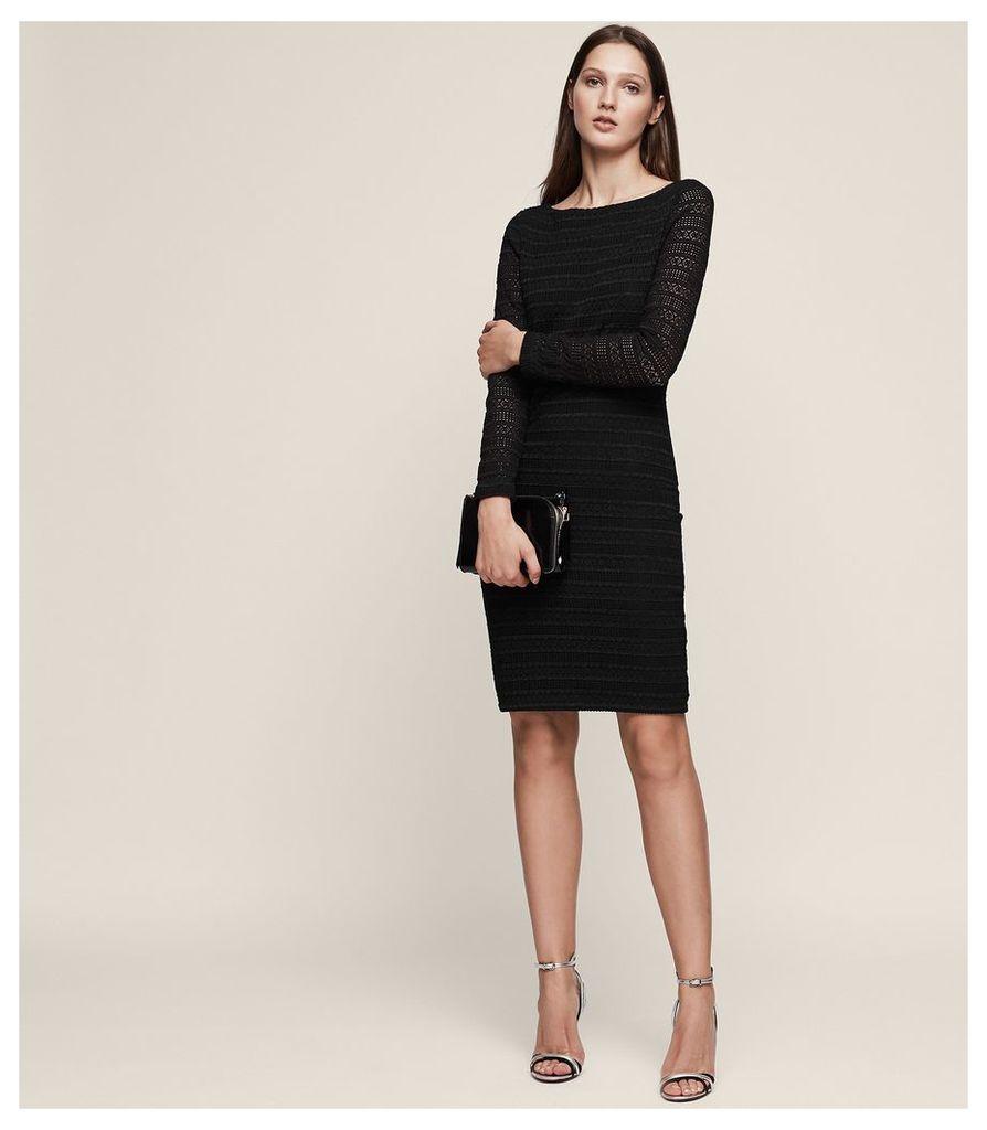 REISS Denise - Crochet Bodycon Dress in Black, Womens, Size 4