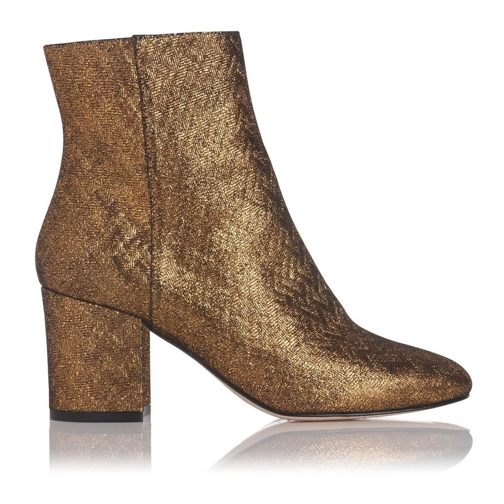Jourdan Gold Leather Ankle Boots