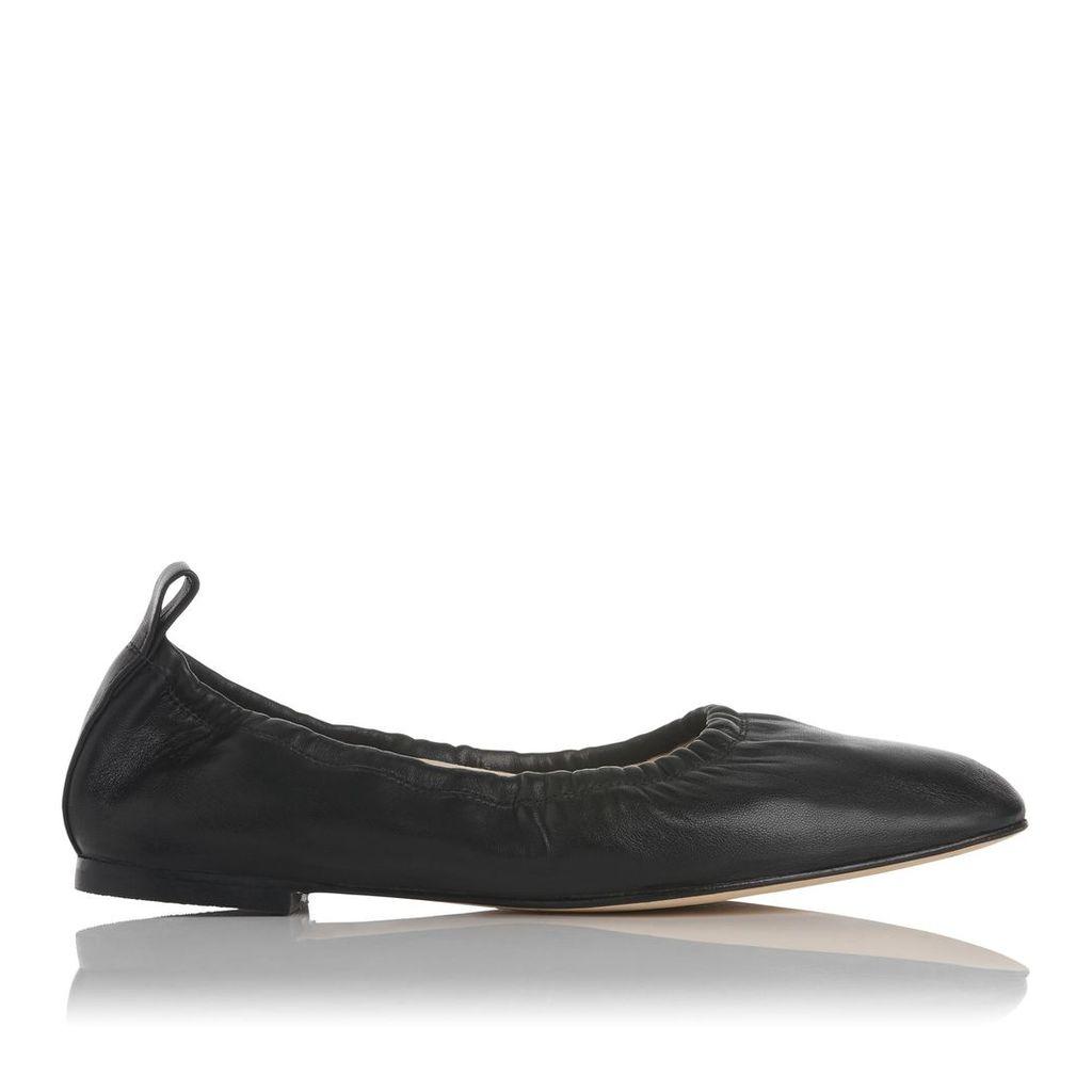 Cora Black Leather Flats