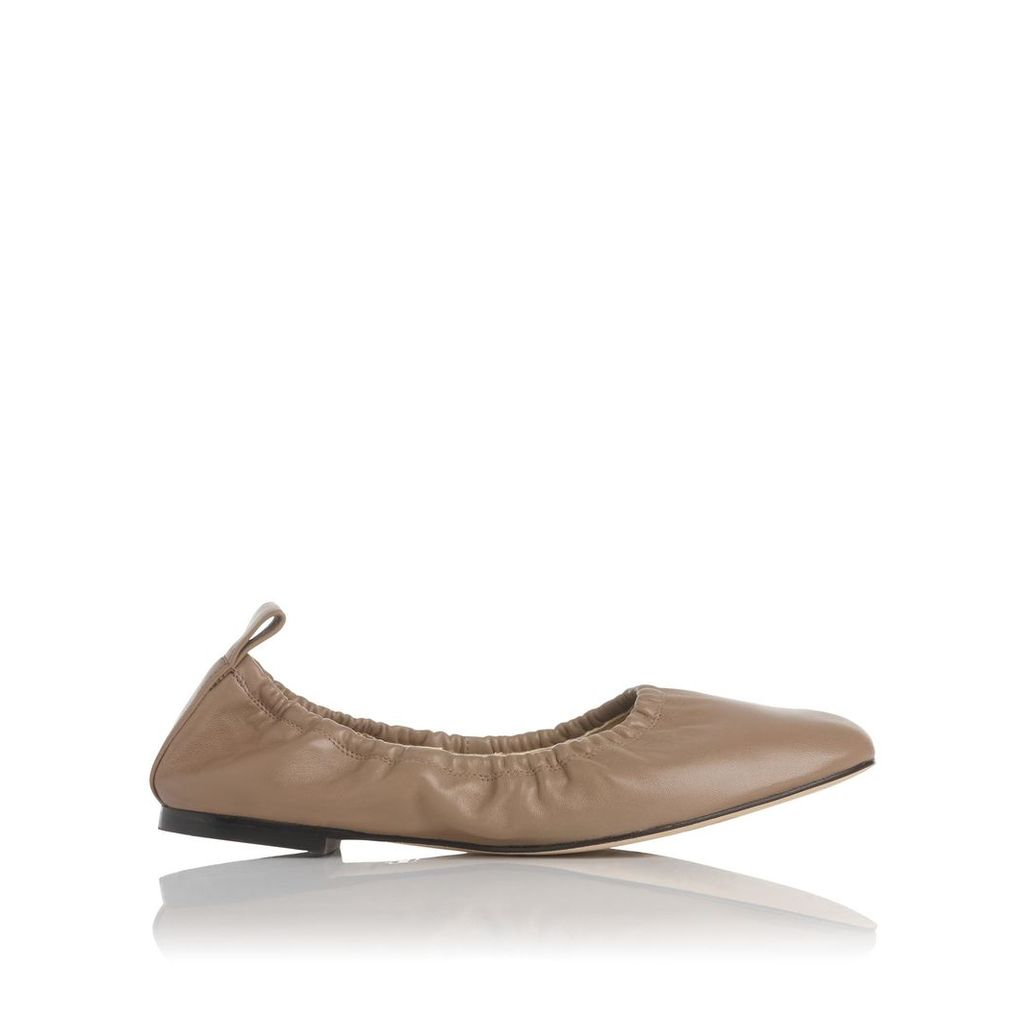 Cora Taupe Leather Flats