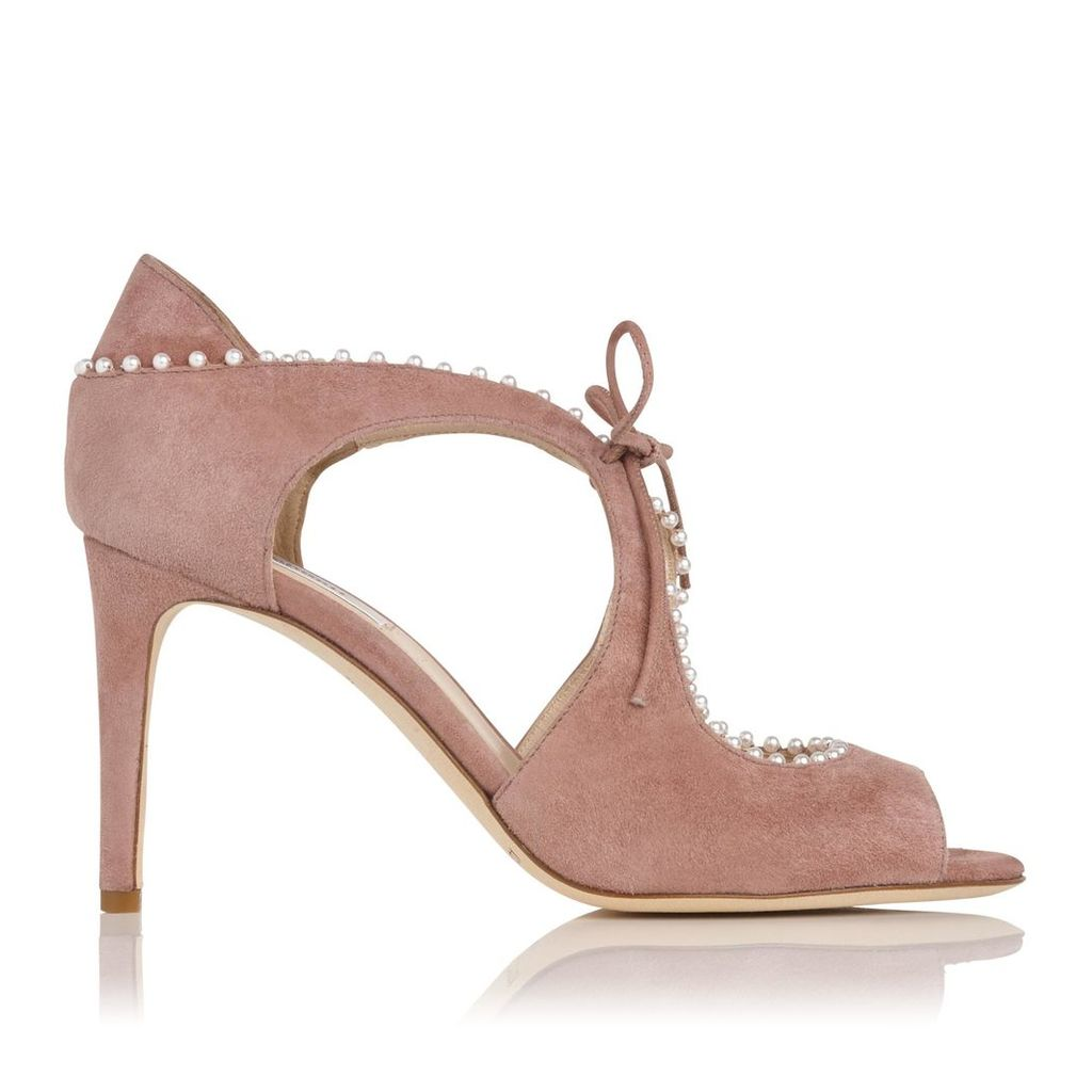 Ellena Dark Pink Suede Formal Sandals