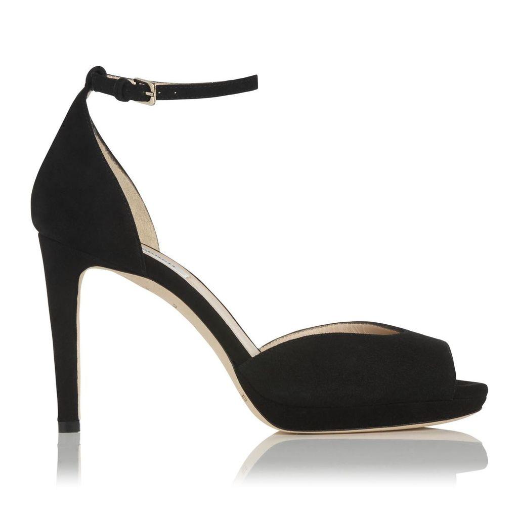 Yasmin Black Suede Formal Sandals
