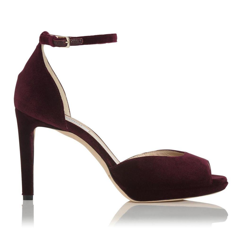Yasmin Loganberry Velvet Formal Sandals