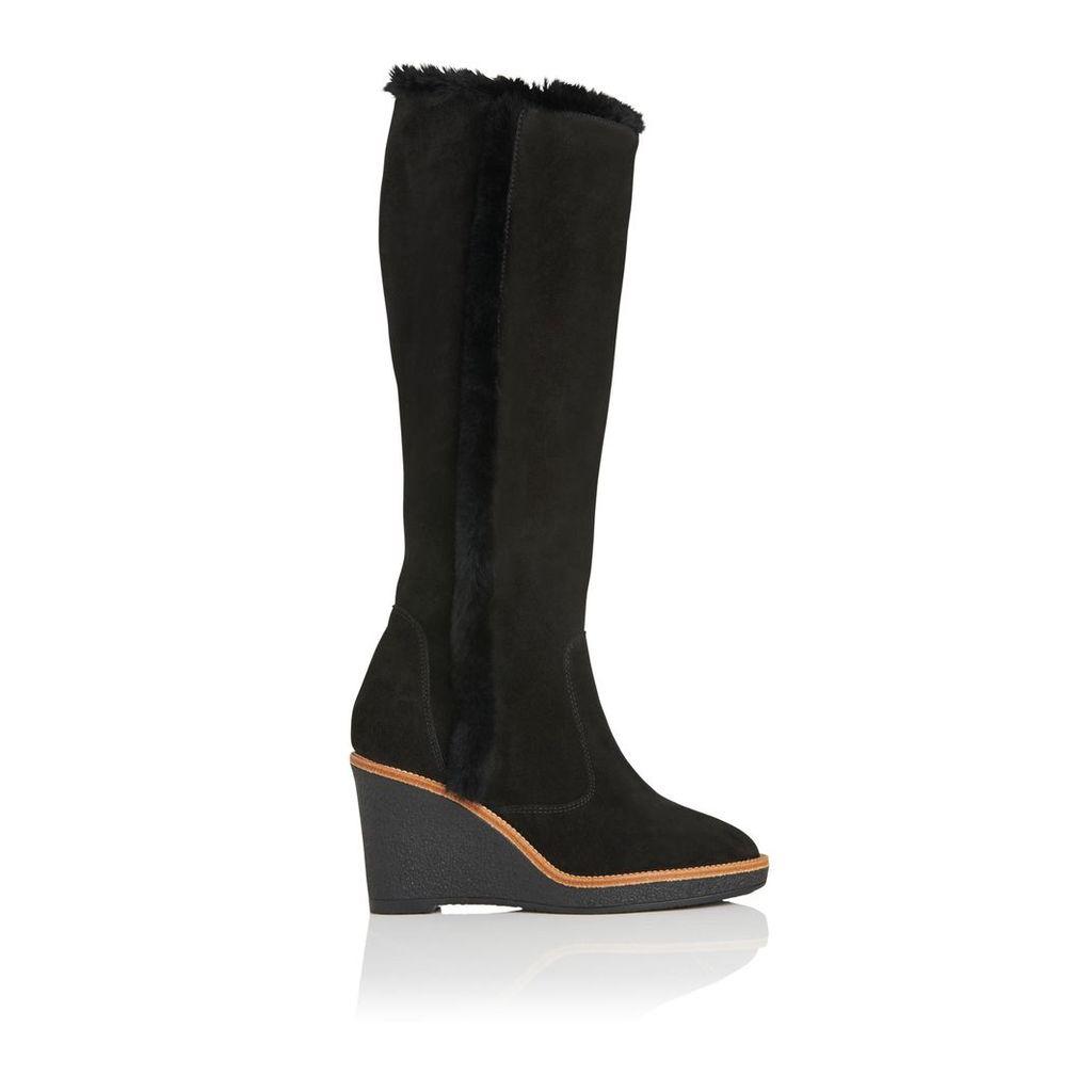 Margie Black Suede Knee Boots