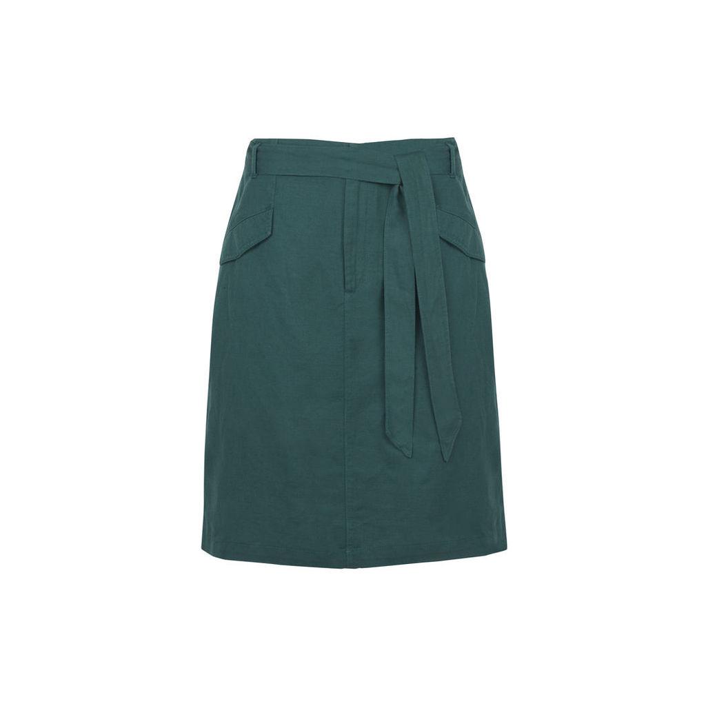 Green Tie Waist Linen Blend Skirt
