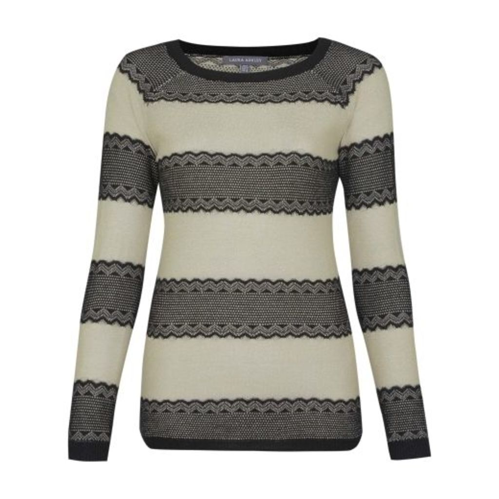 Sparkling Stripe Jumper with Lace Knitted Details