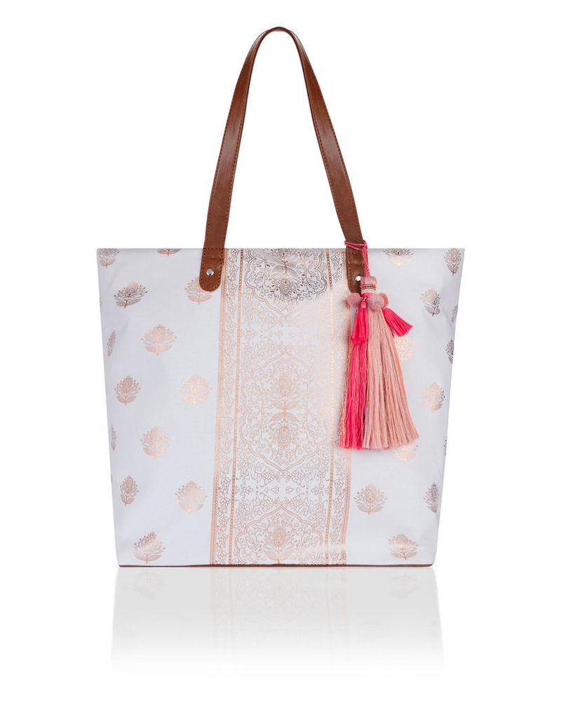 Rose Foiled Block Print Tote Bag