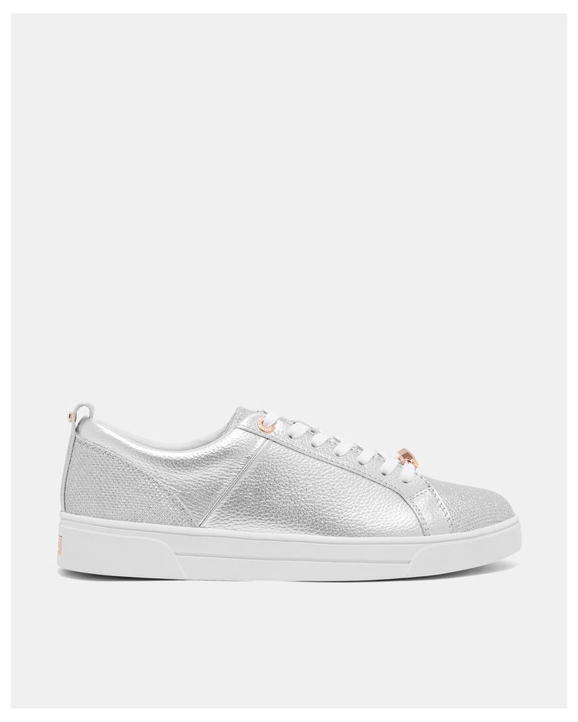 Ted Baker Leather glitter tennis trainers Silver