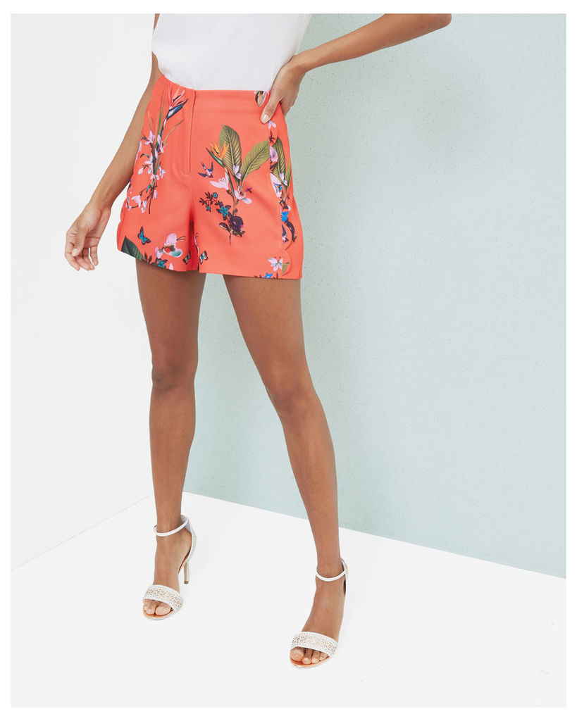 Ted Baker Tropical Oasis scallop detail shorts Mid Red