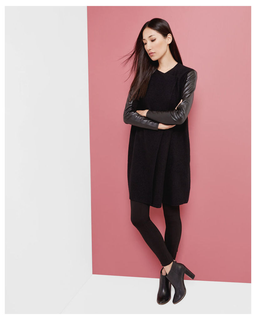 Ted Baker Leather panel wrap cardigan Black