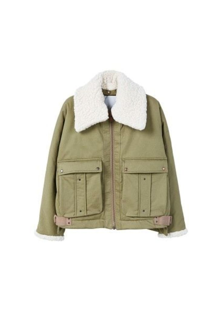 Faux shearling collar quilted jacket