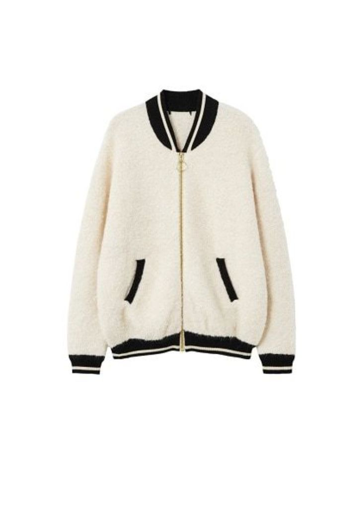 Contrasted finishings faux-shearling bomber