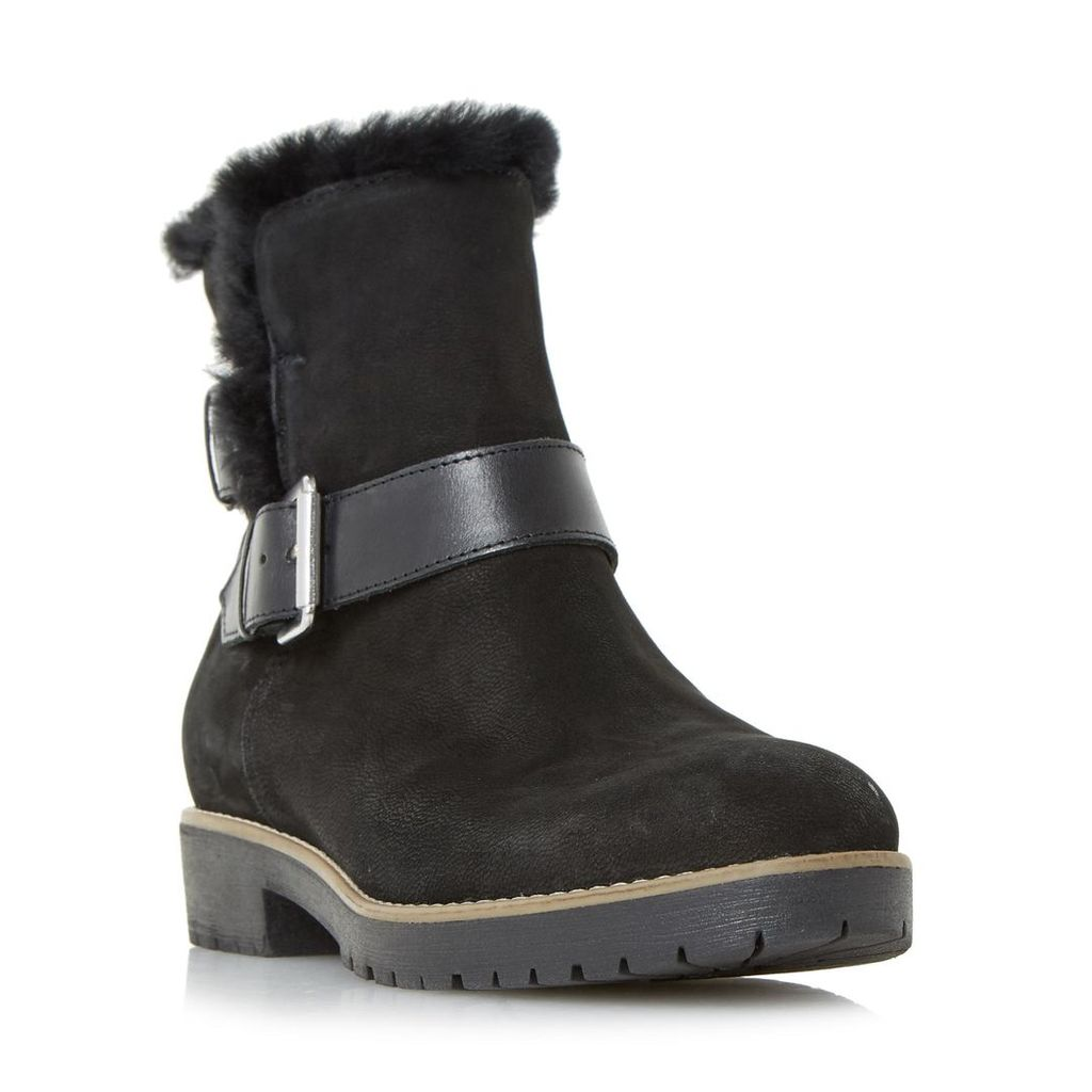 Persia Buckle Strap Faux Fur Trim Ankle Boot