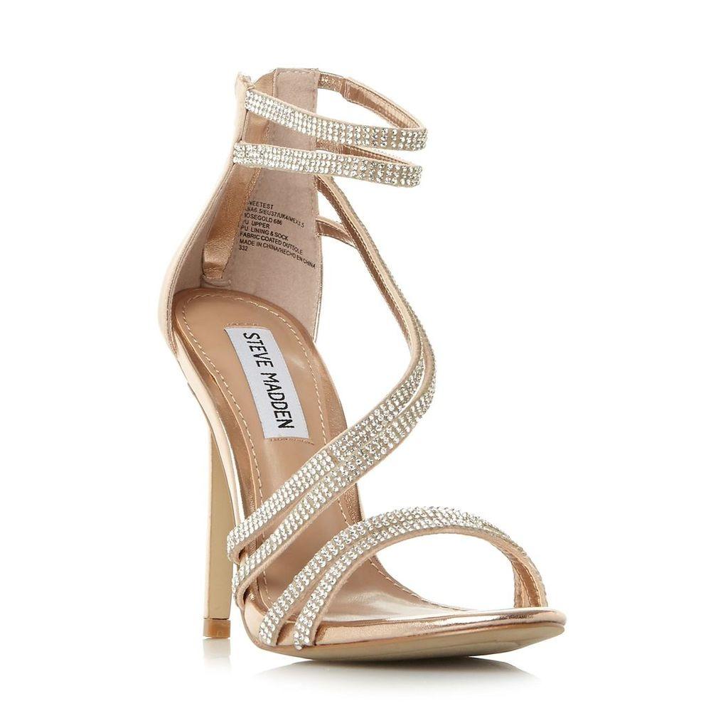 Sweetest Sm Diagonal Diamante Strap Heeled Sandal