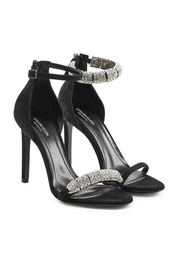 CALVIN KLEIN 205W39NYC Suede Sandals with Embellishment