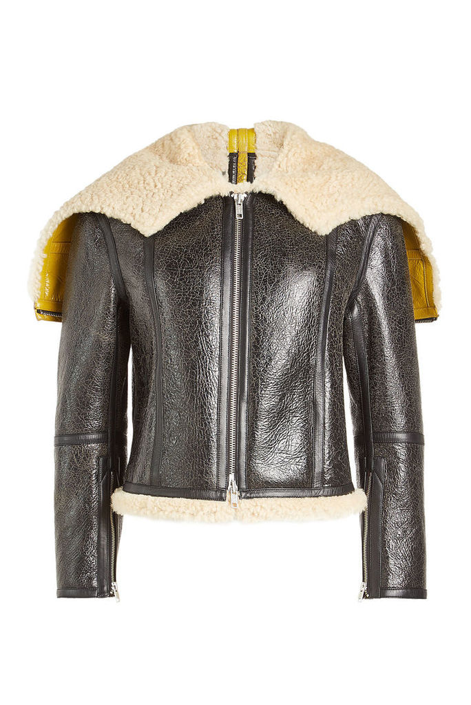 CALVIN KLEIN 205W39NYC Leather Jacket with Shearling