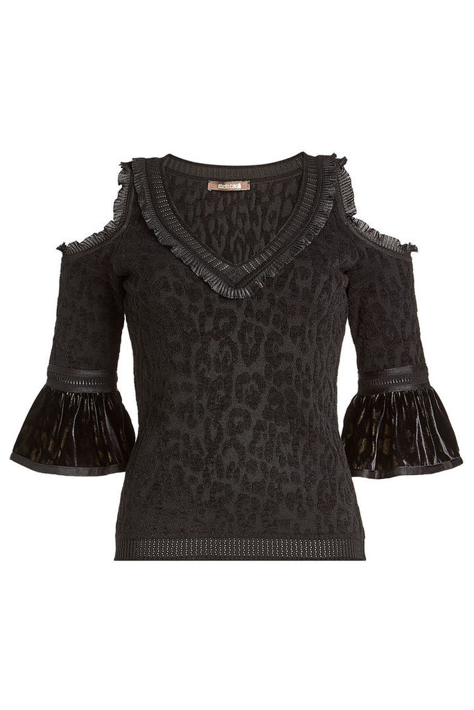 Roberto Cavalli Cold Shoulder Printed Top with Velvet and Wool