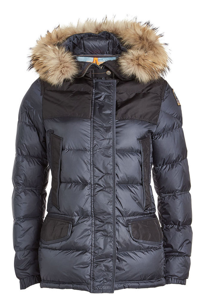 Parajumpers Quilted Down Jacket with Fur Trimmed Hood