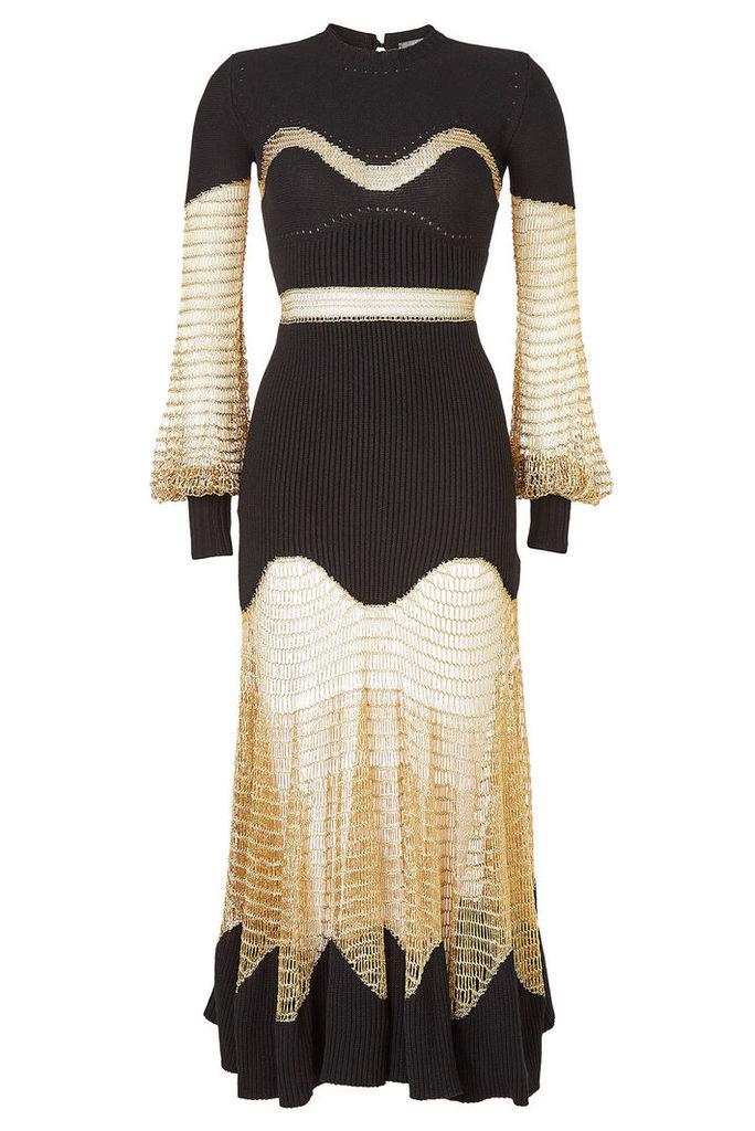 Alexander McQueen Wool Dress with Metallic Thread