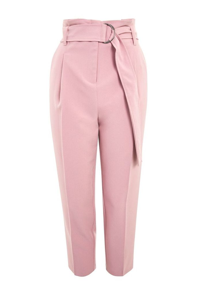 Womens PETITE Belted Peg Trousers - Pink, Pink