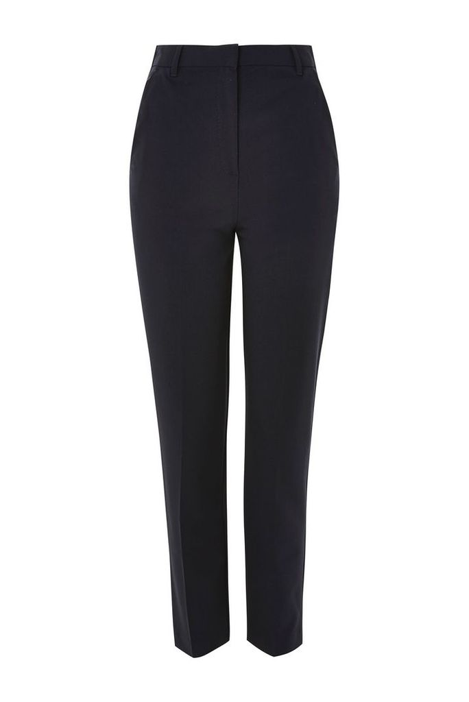 Womens PETITE High Waisted Cigarette Trousers - Navy Blue, Navy Blue